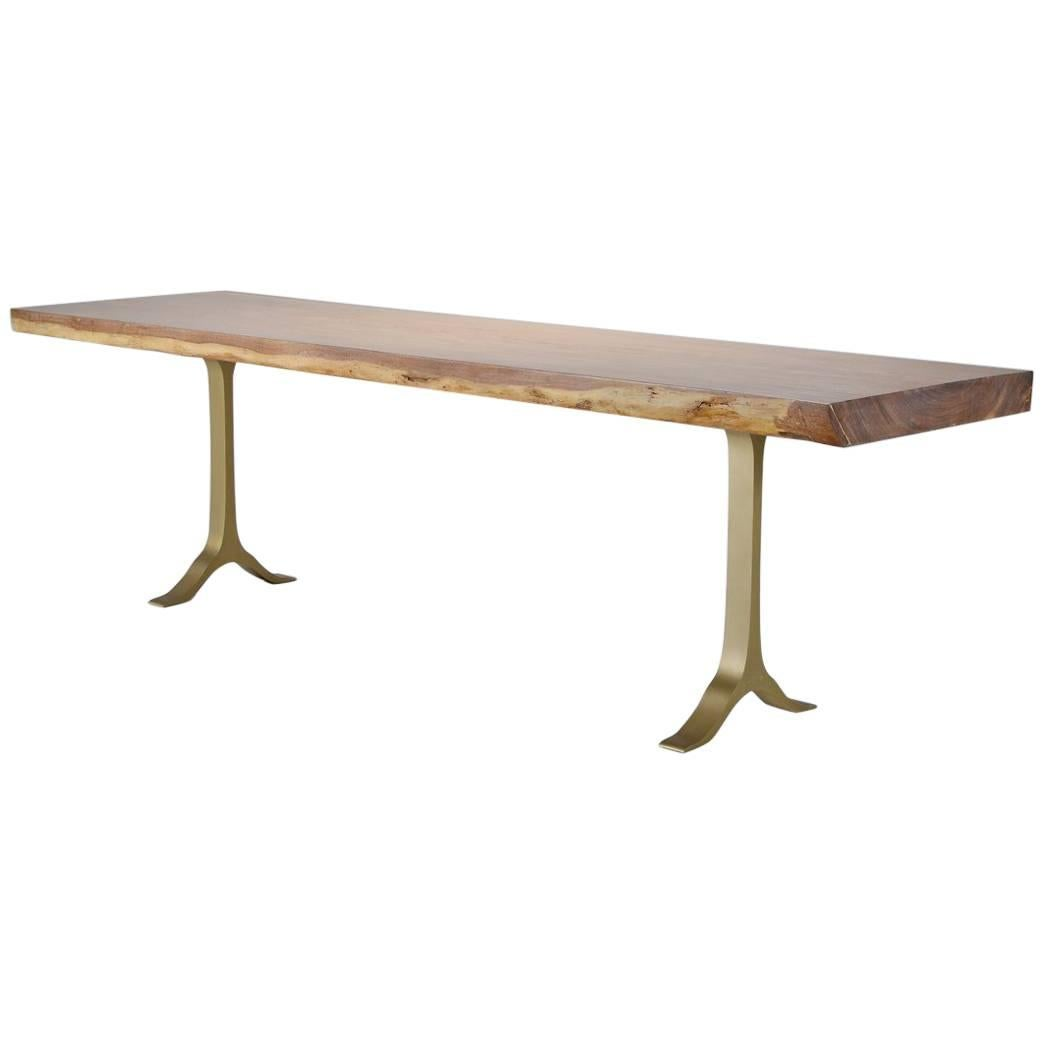 Console Table, One Slab Antique Hardwood, Cast Base by P. Tendercool in Stock
