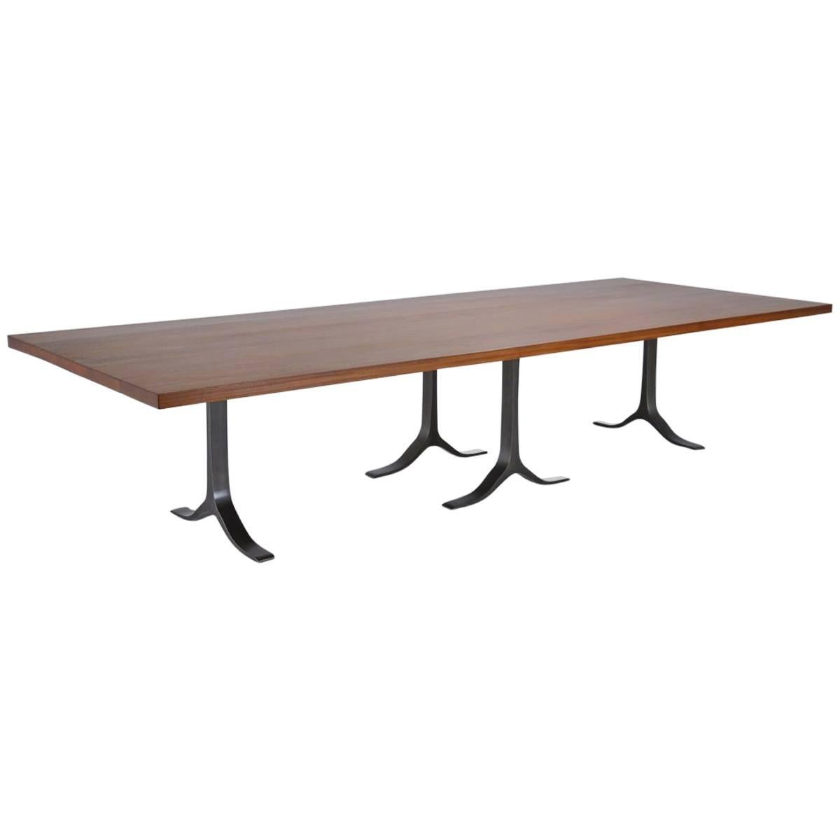 Conference Table, Reclaimed Hardwood, Sand Cast Aluminium Base by P. Tendercool