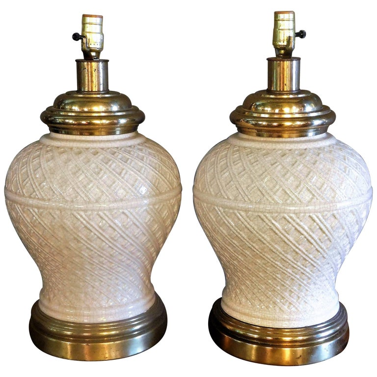 Pair of Ceramic Basket-Weave Paul Hanson Lamps with Ivory Crackle Glaze, 1955