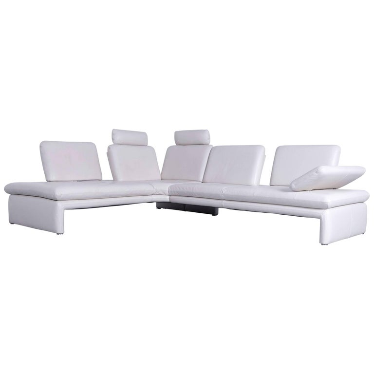 Willi Schillig Designer Corner Sofa Leather White Function