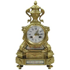 French 19th Century Bronze Gilt Mantel Clock with Sevre Style Panels