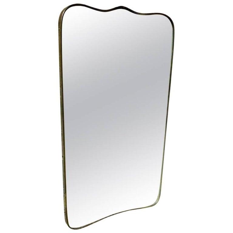 Italian Design Midcentury 1950s Brass Mirror