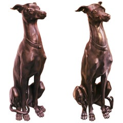 Greyhound Sculpture Set of Two in Solid Bronze