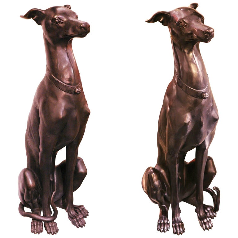 Greyhound Sculpture Set of Two in Solid Bronze For Sale