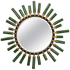O'Clock Mirror in Emerald or Red Lacquered Finish