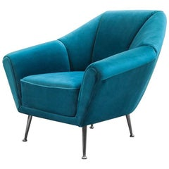 Tomy Armchair with Aqua Blue Velvet