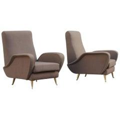 Pair of Italian Armchairs Midcentury Italian Design, 1950s