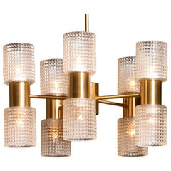 1960s, Brass and Glass Chandelier by Carl Fagerlund for Orrefors