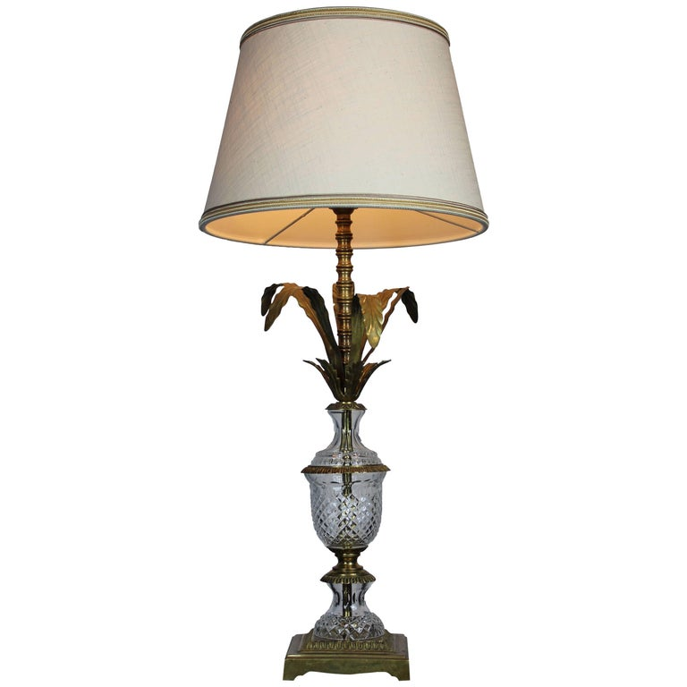 Italian Midcentury Brass and Glass Pineapple Table Lamp 1950s