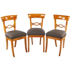 Set of Three Biedermeier Period Cherry Tree Chairs, Early 19th Century