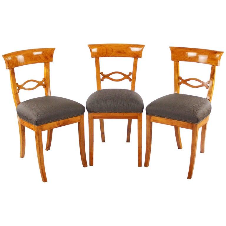 Set of Three Biedermeier Period Cherry Tree Chairs, Early 19th Century