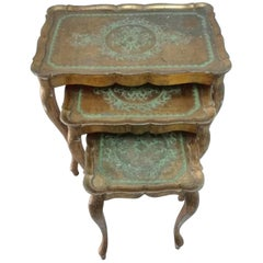 20th Century Set of Venetian Style Wooden Stacking Tables with Decorations