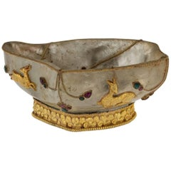 Antique Chinese Silver-Gilt and Rock Crystal Gem Set Brush Wash Bowl, circa 1880