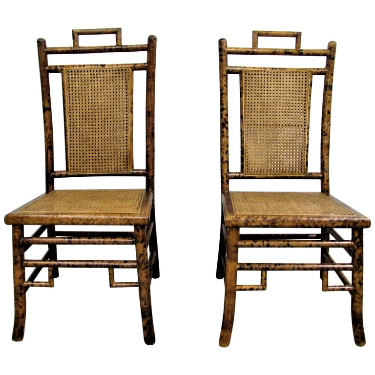 Pair of Baker Faux Tortoise Shell Chinoiserie Chairs