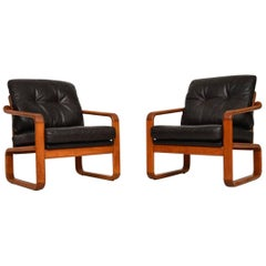 1960s Pair of Danish Leather and Teak Armchairs