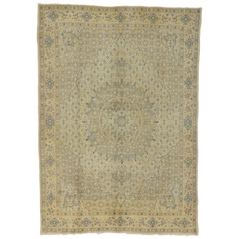 Vintage Persian Khoran Area Rug With French Country Style For