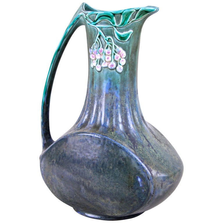 Art Nouveau Pitcher Majolica by Julius Dressler, Bohemia, circa 1900 For Sale
