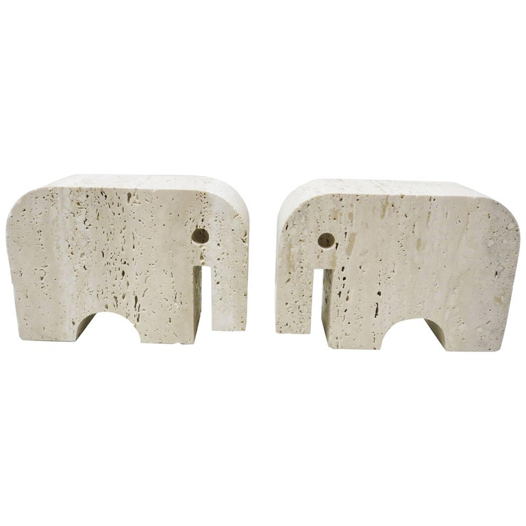 Pair of Bookends Elephants Fratelli Mannelli, 1970