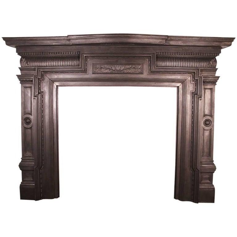 Large Antique Victorian Cast Iron Fireplace Surround