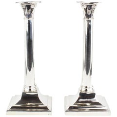 Rare Pair of Candlesticks, Sheffield in 1932, 925 Sterling Silver, Hallmarked
