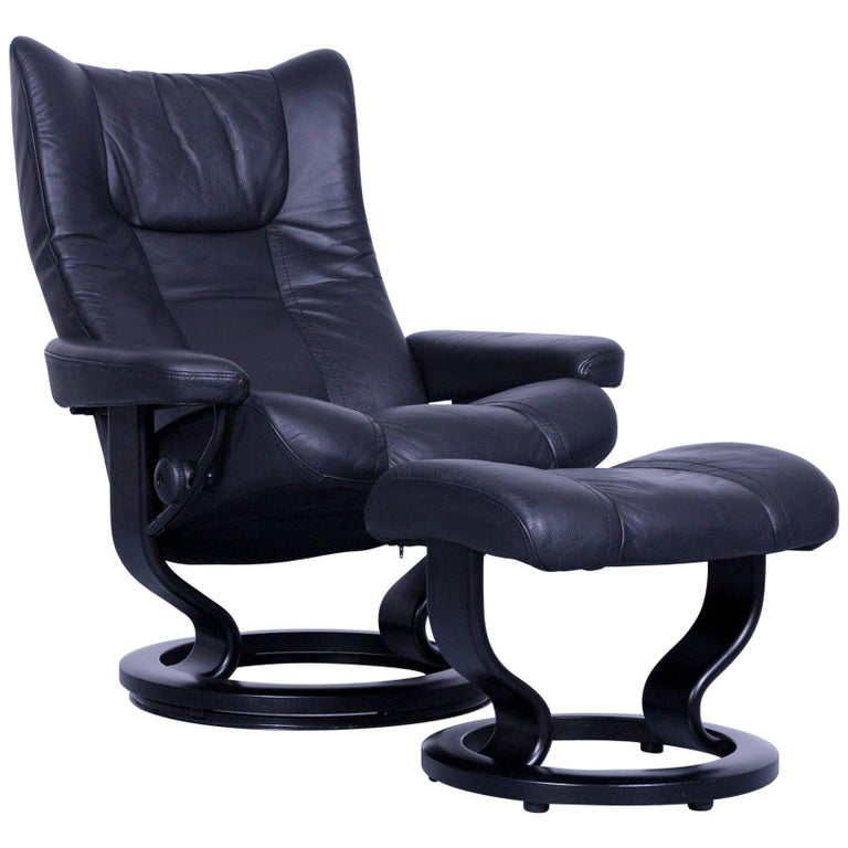 Ekornes Stressless Wing Armchair And Footstool Black Leather Recliner Chair For
