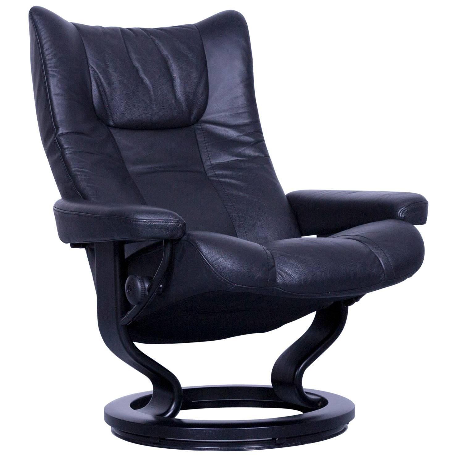 Ekornes Stressless Wing Armchair Black Leather Modern Recliner Chair  Designer For Sale