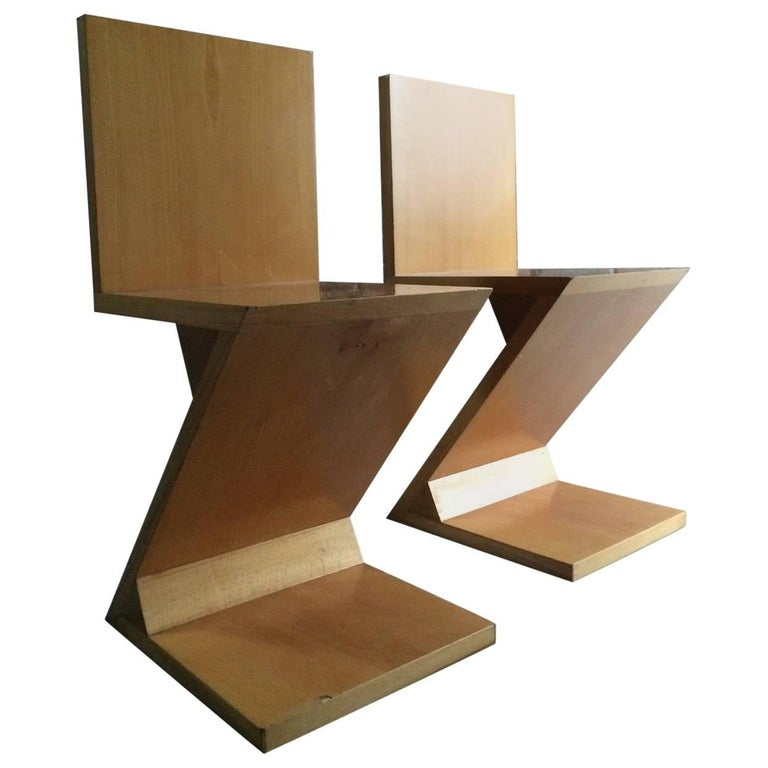 Pair of Gerrit Rietveld Design Zig Zag Chairs, Mid-Century Modern Birch