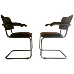 Pair of Mart Stam Design Cantilever Chairs, 1960s Original Leather and Chrome