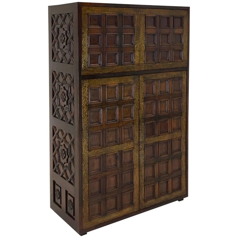 Elaborate Hollywood Regency Rosewood Dry Bar Cabinet With Br Inlay For