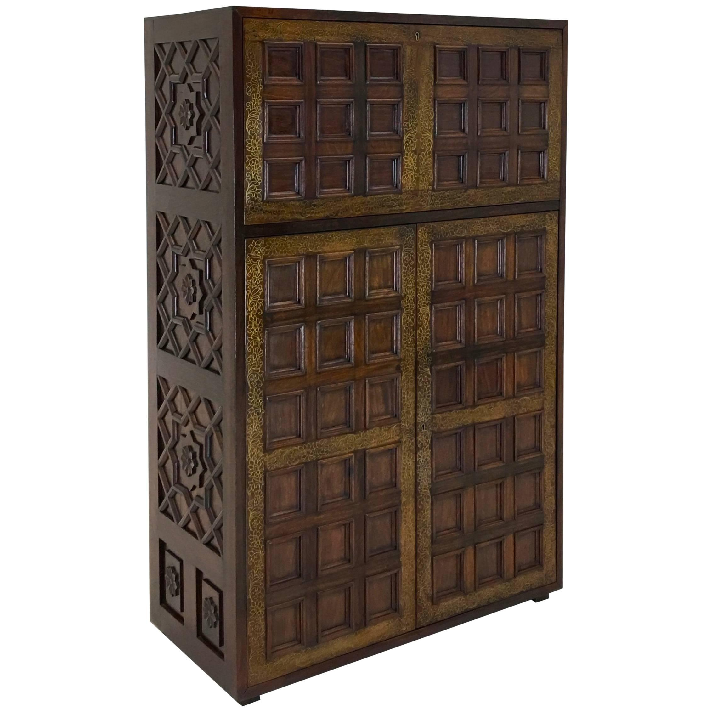 Elaborate Hollywood Regency Rosewood Dry Bar Cabinet With Brass Inlay