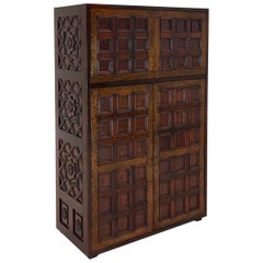 Rosewood Dry Bar Cabinet with Brass Inlay