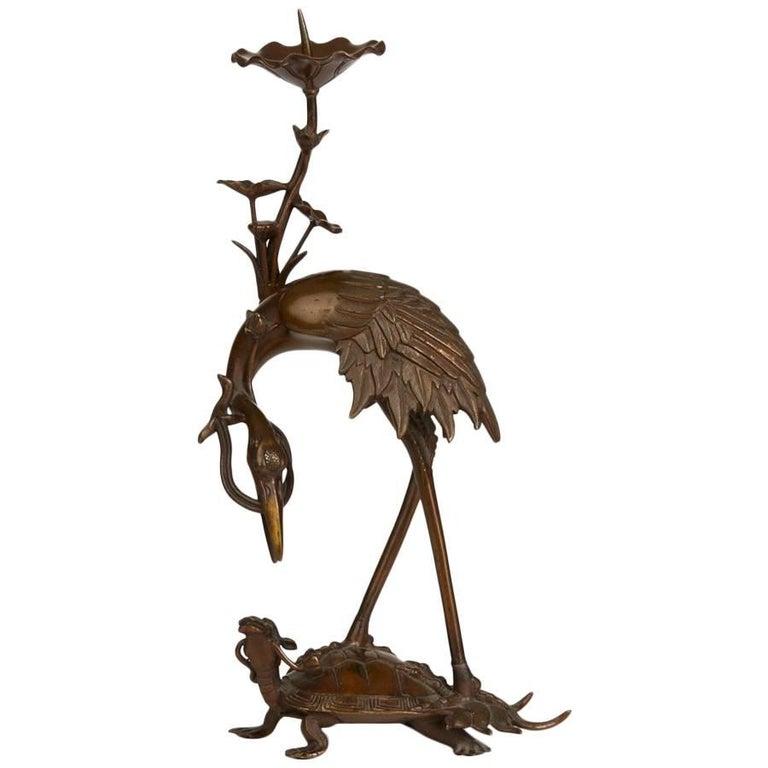 Antique Japanese Meiji Bronze Crane Pricket Stick, 19th Century