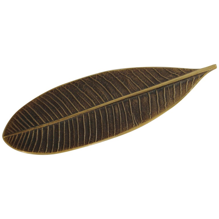 Handcrafted Brass Leaf Paperweight with Bronze Patina For Sale