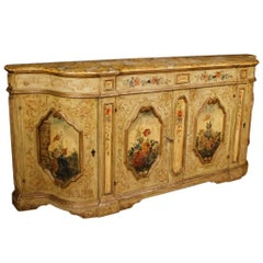 Venetian Sideboard in Lacquered and Painted Wood with Floral Decorations