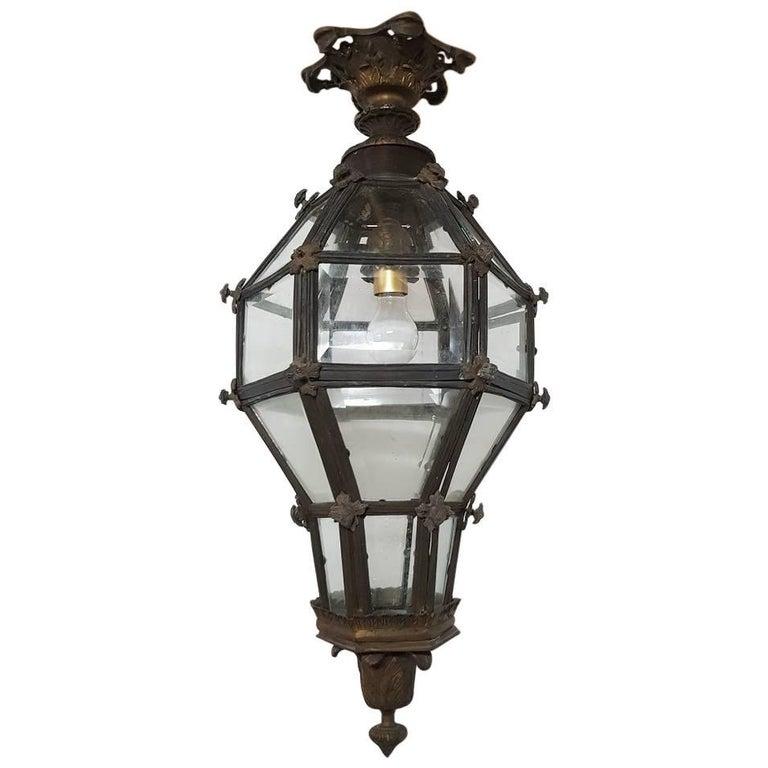 20th Century Large Bronze Lantern