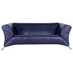 Rolf Benz 322 Designer Sofa Blue Two-Seat Leather Modern Couch Metal Feet