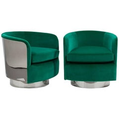 Pair of Milo Baughman Swivel and Tilting Chairs