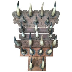 Collection of Six Artisanal Horn Coat Racks, Ideal for Decoration of Cabin