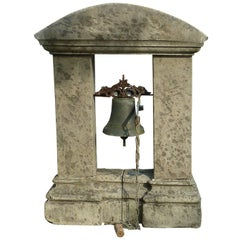 Antique Bell-Tower in Natural Limestone and Its Antique Bell in Bronze, Provence