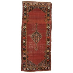 Distressed Antique Persian Malayer Gallery Rug, Hallway Runner