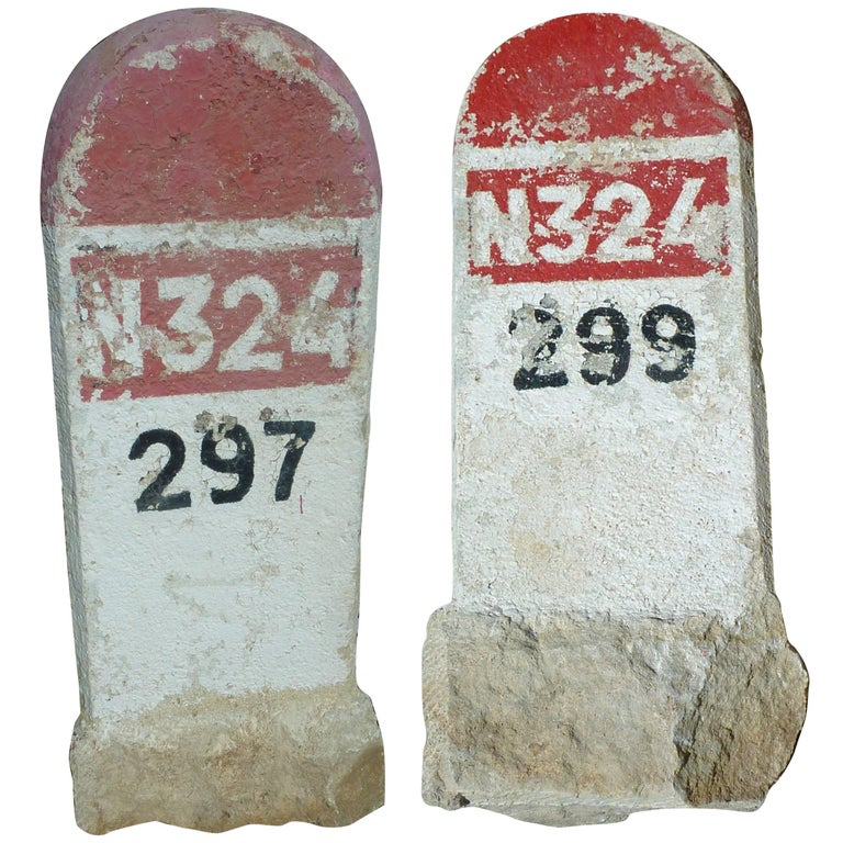 Pair of Old Monolithic Milestones Painted in White and Red, 20th Century, France