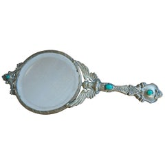 Early 20th Century Little Empire Style Vanity Hand Mirror Inlaid