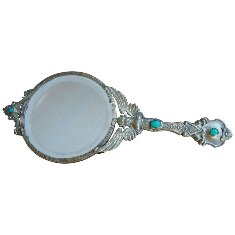 Early 20th Century Little Empire Style Vanity Hand Mirror Inlaid For Sale