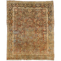Distressed Antique Persian Sarouk Rug with Art Nouveau Style