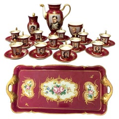19th Century, Paris Porcelain Tea Set Featuring Napoleonic Portraits with Tray