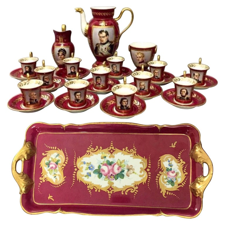 19th Century, Paris Porcelain Tea Set Featuring Napoleonic Portraits with Tray For Sale