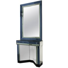 Vintage Italian Blue Glass Mirror and Console