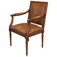 Louis XVI Style Walnut Fauteuil Chair with Original Leather and Nailhead Trim