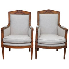 Pair of French Empire Bergere Chairs