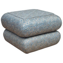 Fortuny Blue and Silvery Gold Ottoman